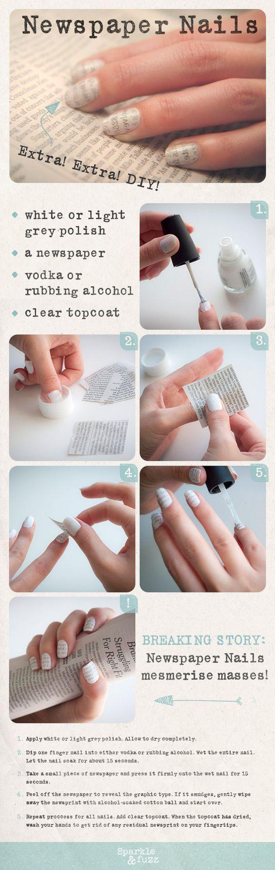 DIY: Newspaper Nails: | Nail\'s art | Pinterest | Newspaper nails ...