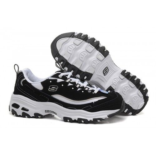 Skechers D Lite Biggest Fan Mens Running Shoes Black White Black
