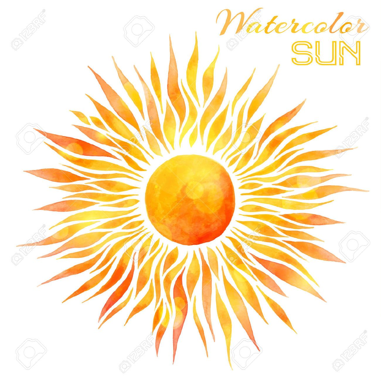 Line Drawing Sun Vector : Watercolor sun vector illustration hand drawn