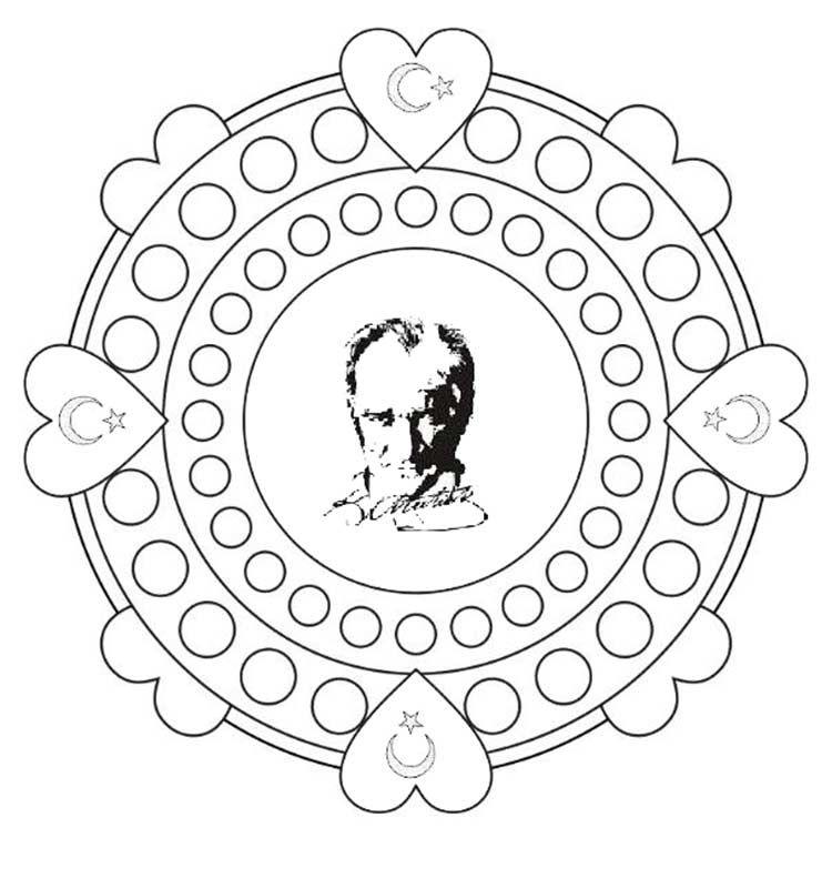 29 Ekim Cumhuriyet Bayrami Ataturk Kalibi Boyama Sayfalari 3d