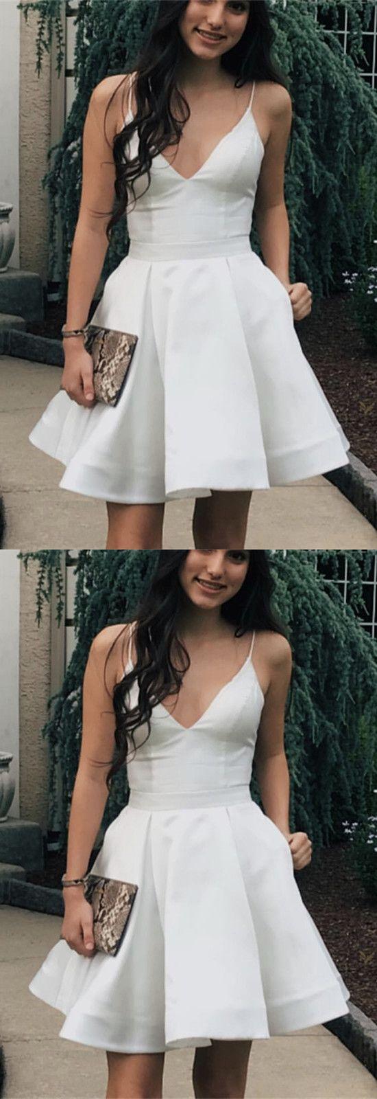 Short satin vneck spaghetti straps homecoming dresses in