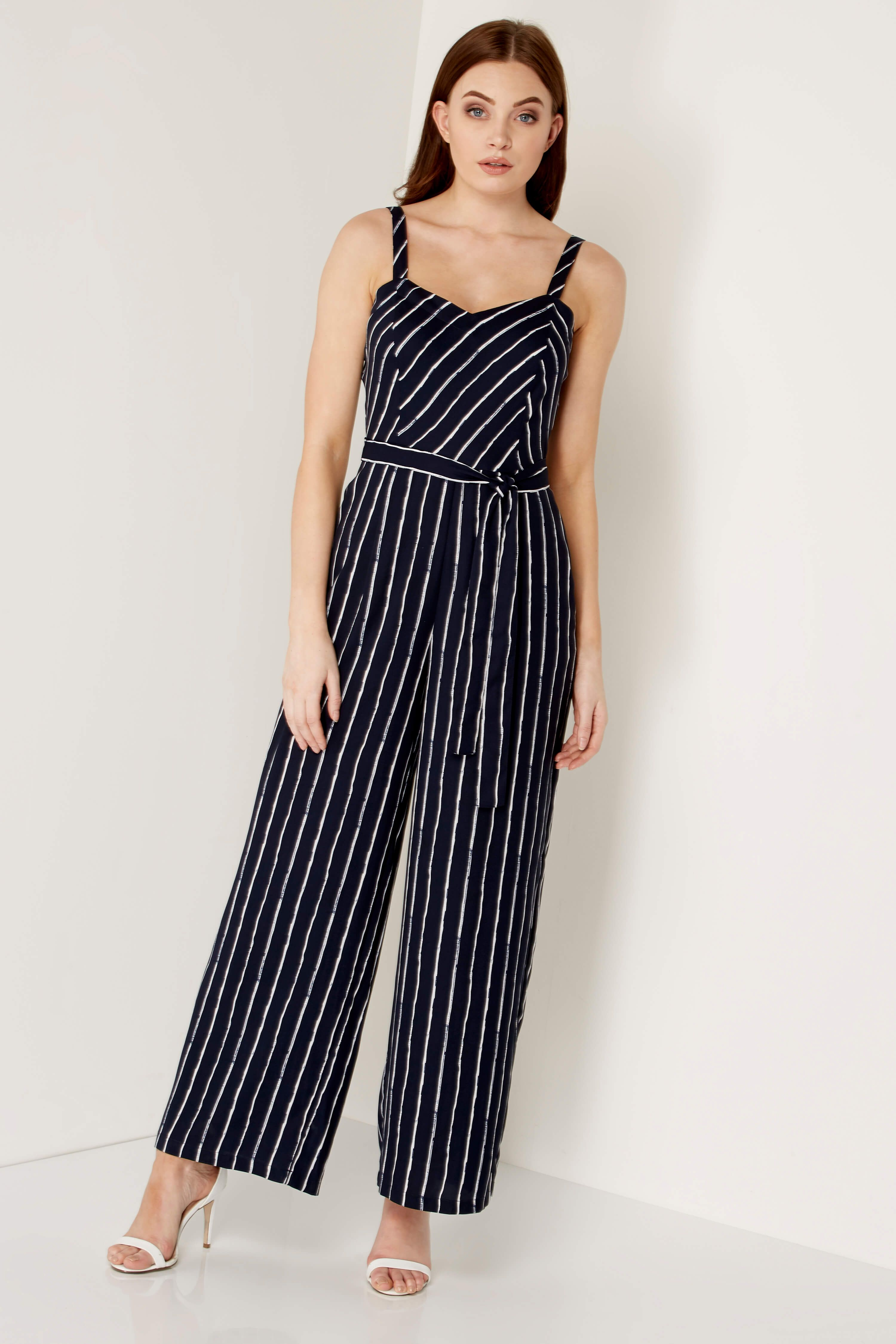 a9b1ff51c3a Stripe Sweetheart Neck Jumpsuit - Free UK Delivery - 10 12 14 16 18 20 -