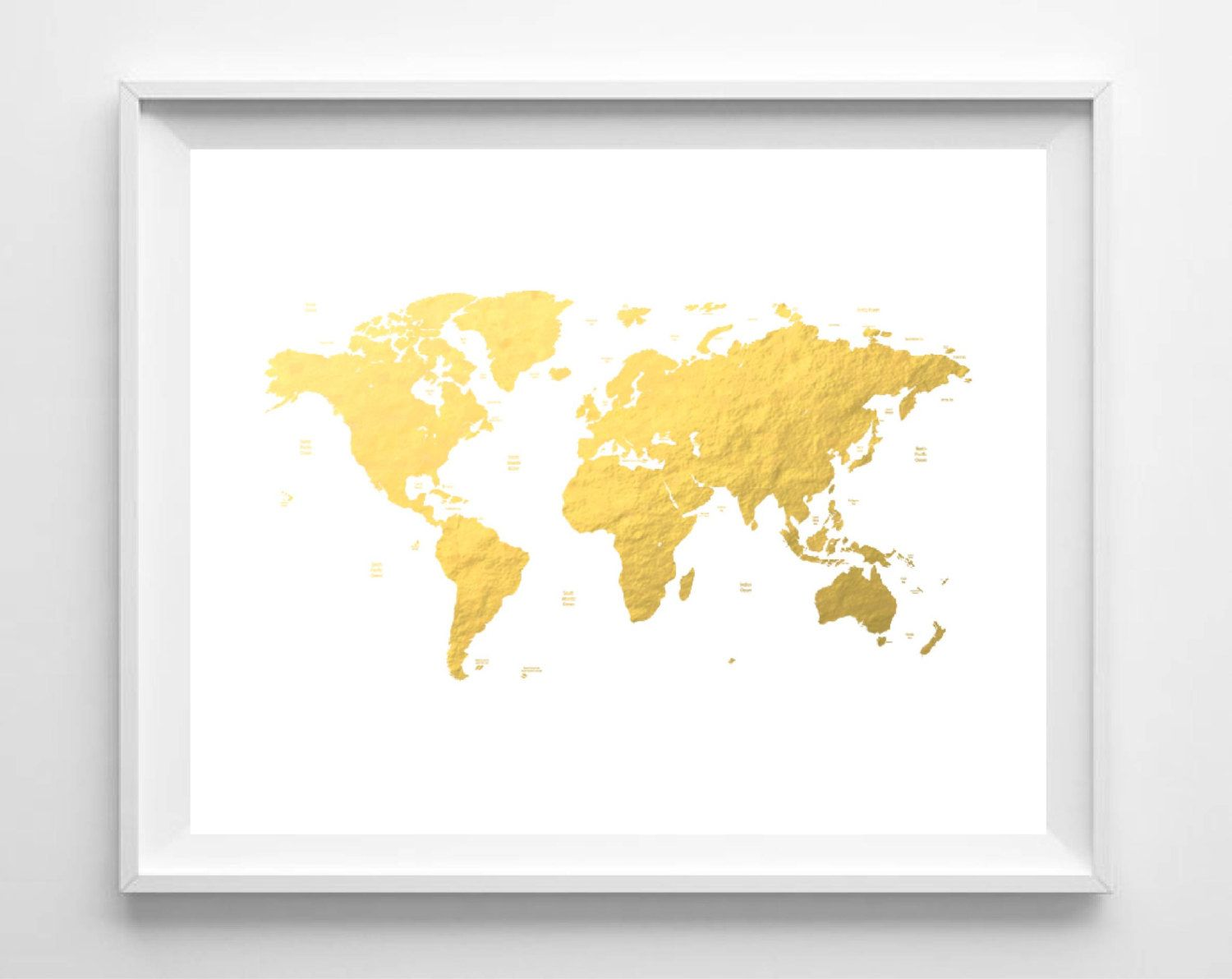 Printable World Map Print Gold Foil Map Print Nursery Art Print ...