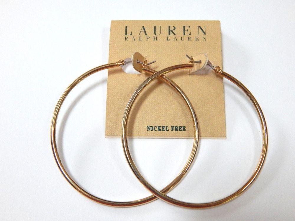 Lauren Ralph Gold Tone Large Hoop Earrings Laurenralphlauren