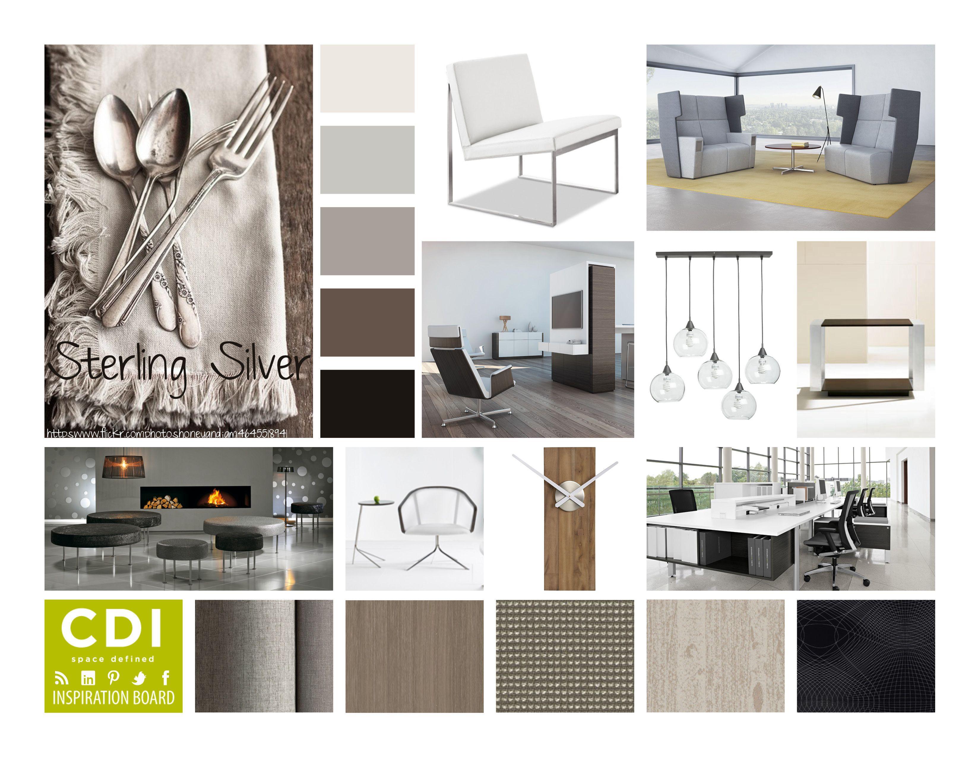 Inspiration Board Sterling Silver Interior Design Presentation Boards Materials Board Interior Design Interior Design Mood Board