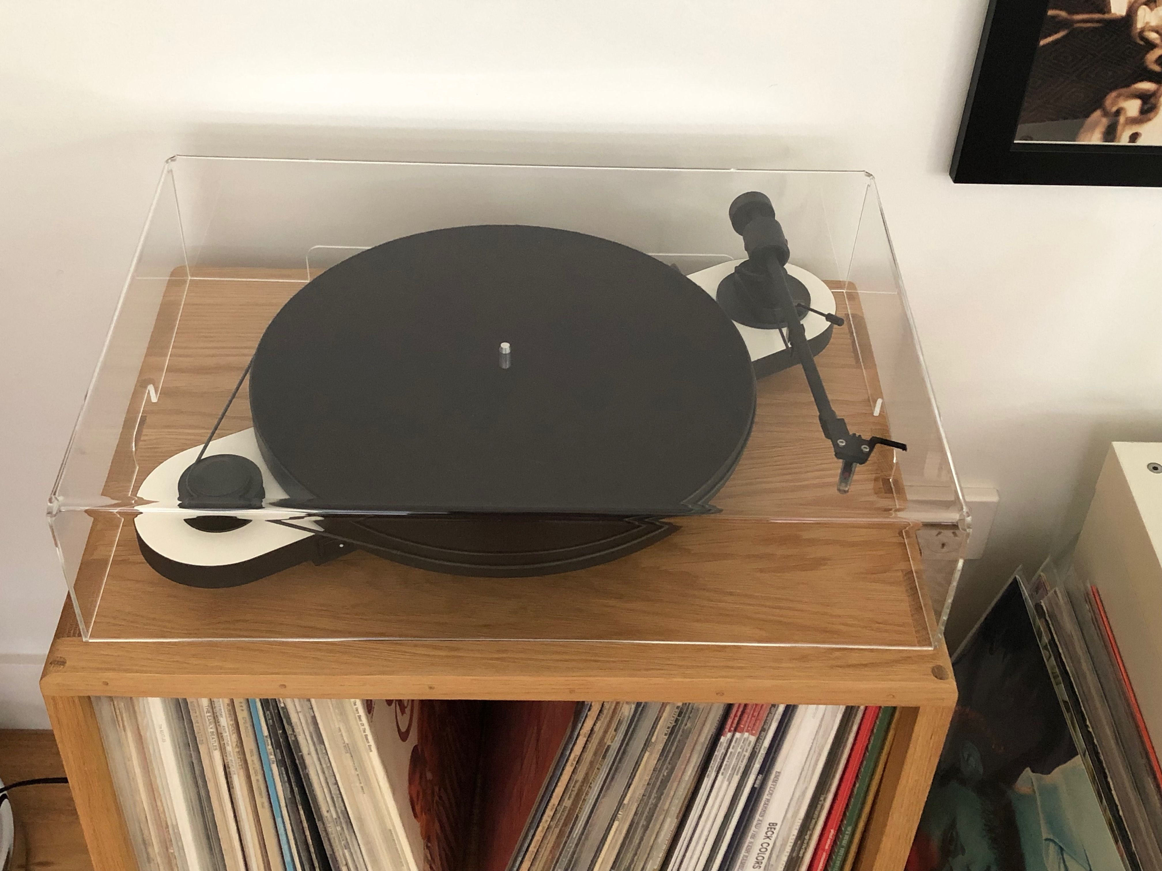 Pro Ject Elemental With Dust Cover On Jevo Vinyl Storage Unit Vinyl Storage Vinyl Storage Unit