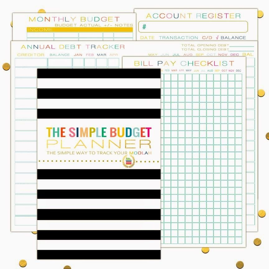 The Simple Budget Planneres with cover, account register - simple budget