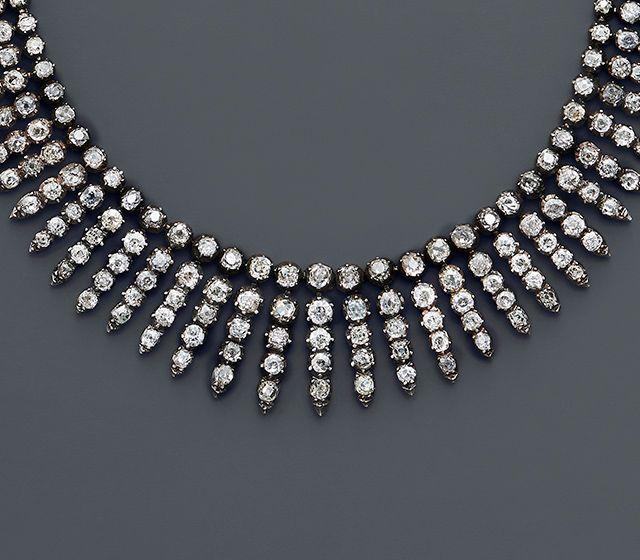 Diamond fringe necklace circe 1860s