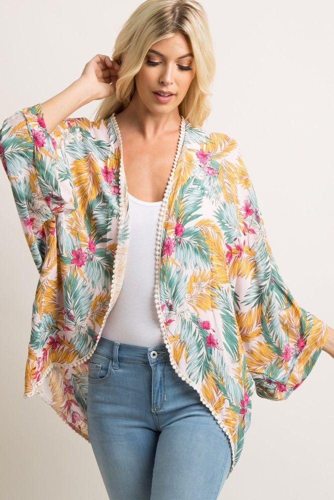 a07e7f452ba Light Pink Tropical Print Dolman Kimono A light pink dolman maternity kimono  featuring a tropical floral print