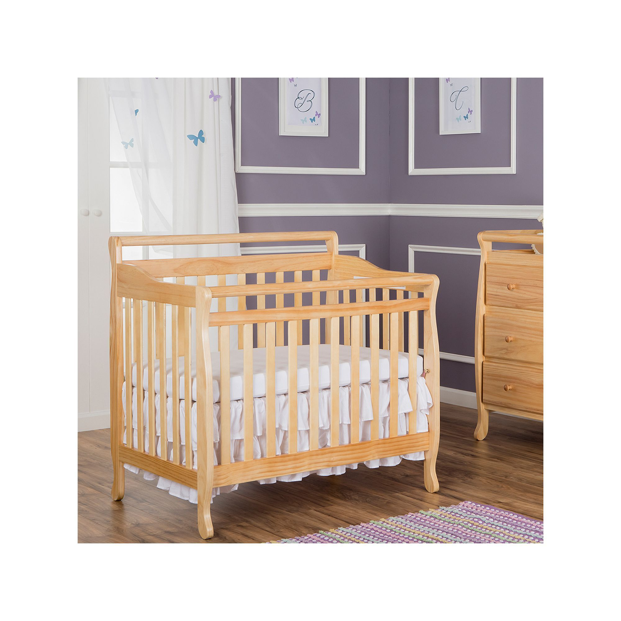mini crib aden free me convertible in shipping garden dream today overstock white product cribs on home