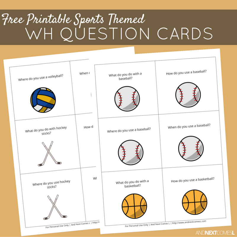 free printable sports themed wh question cards question words plans wh questions what. Black Bedroom Furniture Sets. Home Design Ideas