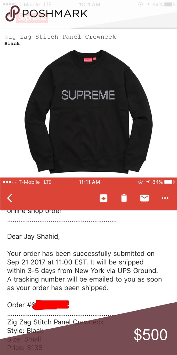 6ed3dc00866a New Supreme Zig Zag Stitch Panel Crewneck- Black S Brand New Supreme Zig  Zag Stitch