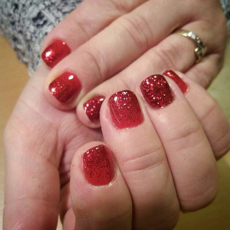 Ombre Nails Red Glitter