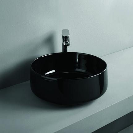 Vasque ronde Ø 42 cm en céramique noire brillant à poser sur plan de