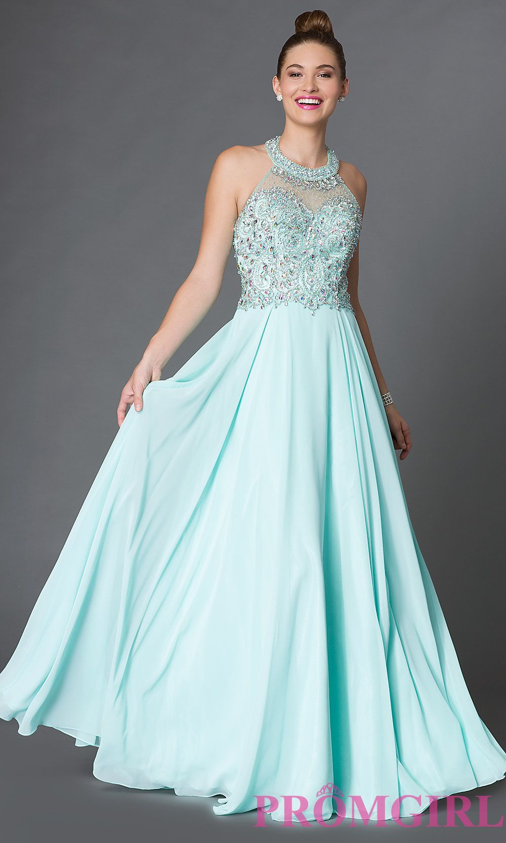 Long Halter Open Back Prom Dress with Jewel Embellished Bodice DQ ...