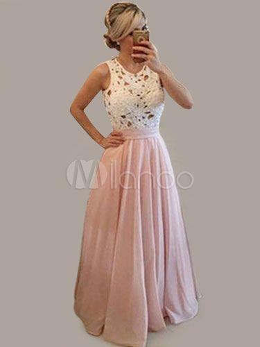 Robe Maxi rose dentelle creux sur sans manches en mousseline de soie robe  longue des femmes 40f5a3db0d1