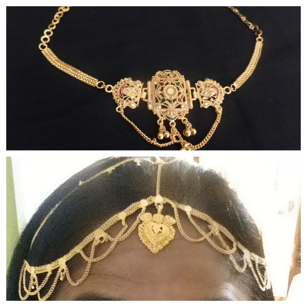 Bridal gold maang tikka armband bajubandh wedding head piece set  jewelry india