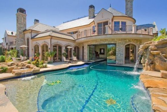 Water Fall Amazing Pool Big House Dream House Dream House