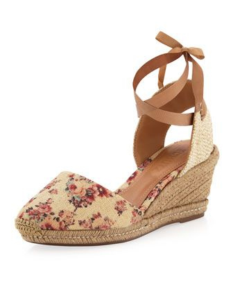Lona Floral-Print Tie-Ankle Wedge by Schutz at Last Call by Neiman Marcus.