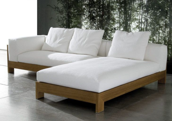 Furniture Diy Cherry Oak Wood Natural Sectional Couch With White Fabric Foam Terrace Furniture Outdoor Sectional Sofa Modern Sofa Sectional