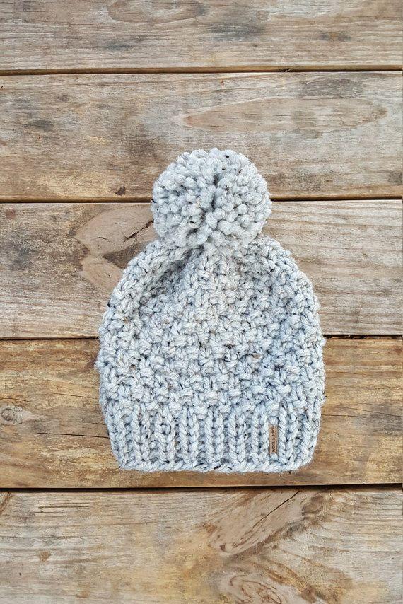 Knitting Pattern - Slouchy Beanie, Knit Hat, Toque, Pom Pom Hat ...