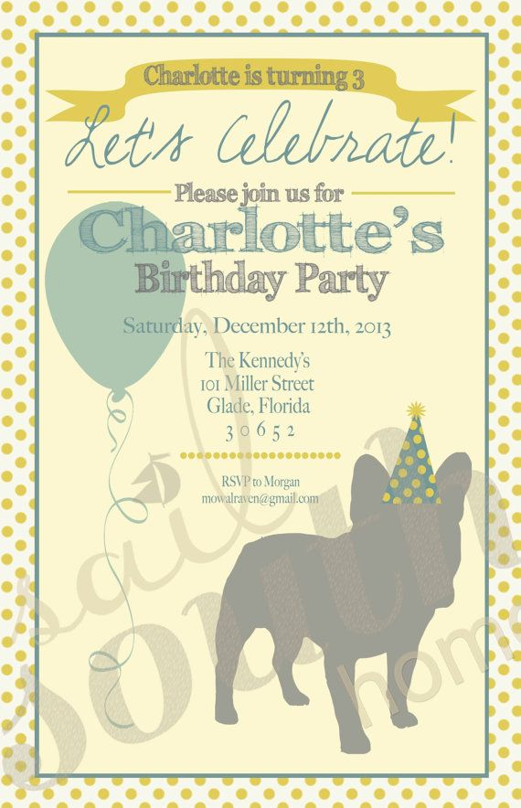 French Bulldog Party Invitation Custom Frenchie by sailsouthhome ...