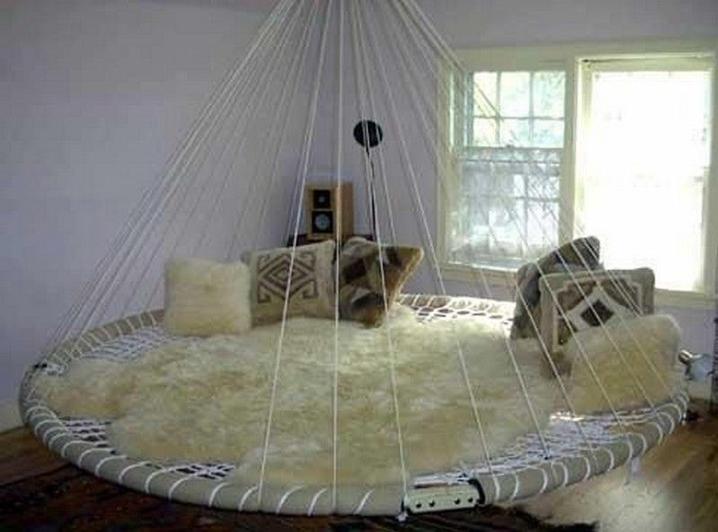Swing Bed Made From Recycled Trampoline In 2020 Floating Bed Indoor Hammock Bed Indoor Hammock