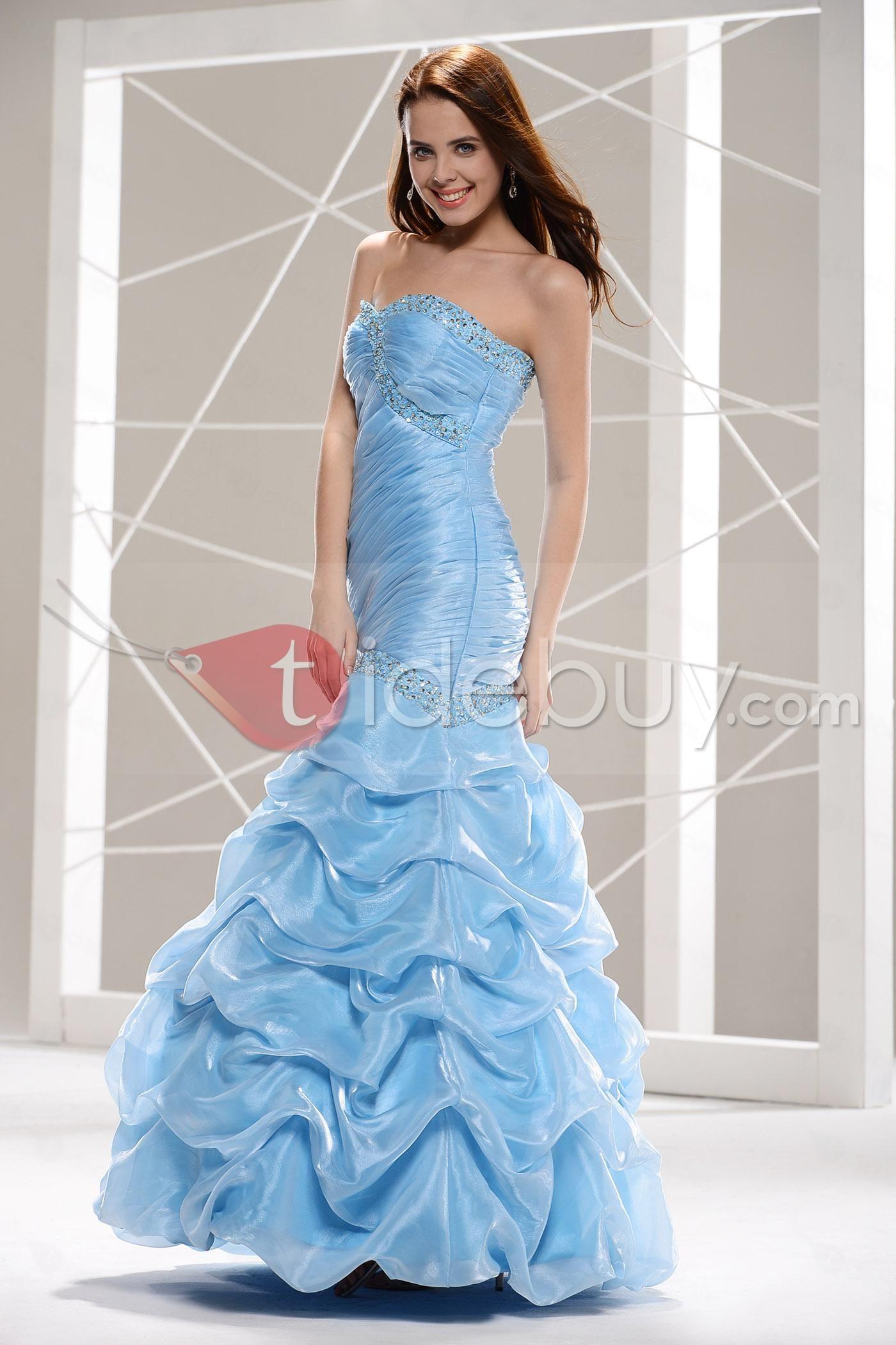 Vestido de Prom/Fiesta con Escote Corazón y Adornos Listones y Dobladillo Largo al Piso y Silueta Sirena (Envío Gratuito)