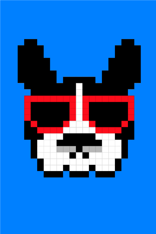 Easy Pixel Art Dogs French Bulldog With Sunglasses Pixel