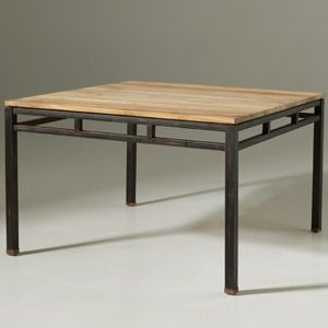 Table manger carr e en teck et m tal luna funiture - Table teck carree ...