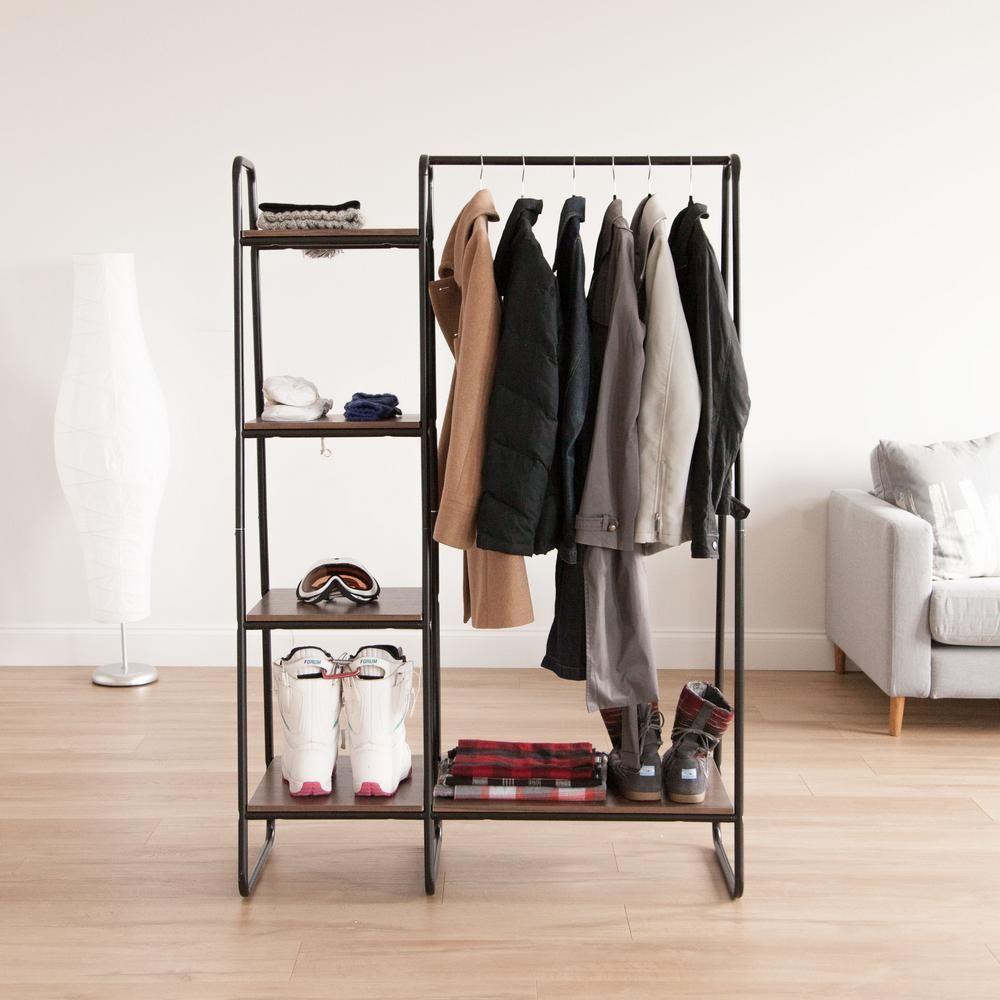 Iris Black And Dark Brown Metal Garment Rack With Wood Shelves