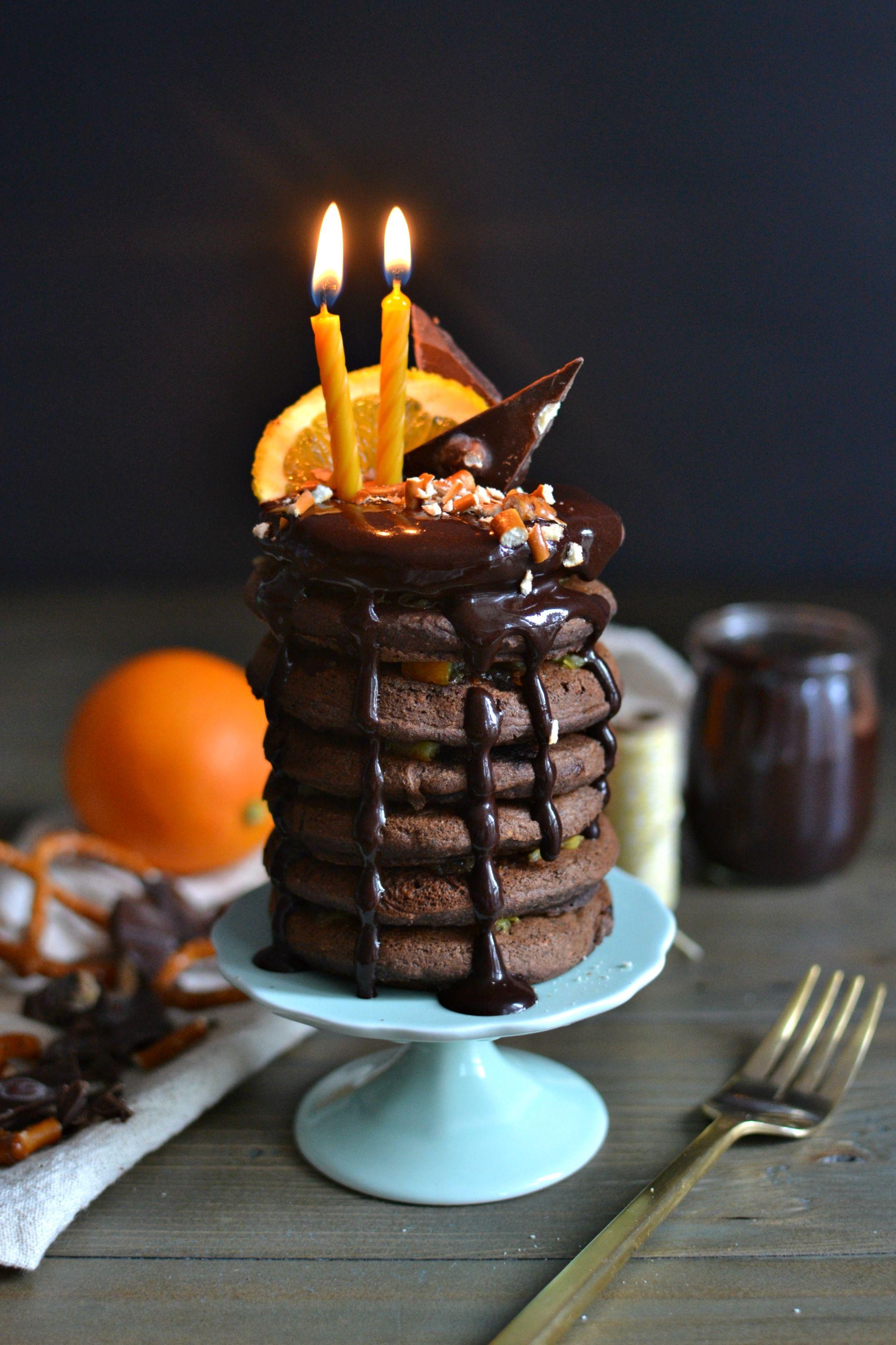 Buckwheat Chocolate Orange Pancakes with chocolate sauce, chocolate bark, and pretzels (vegan & gluten free)   http://www.radiantrachels.com/buckwheat-chocolate-orange-pancakes/