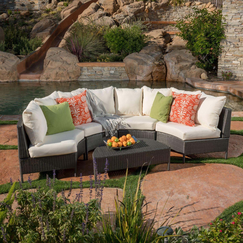 Best Nicos 5 Piece Gray Wicker Sofa Set With White Cushions 400 x 300
