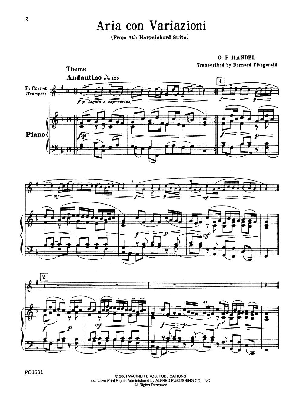Aria Con Variazioni (Trumpet Solo with Piano | J W  Pepper
