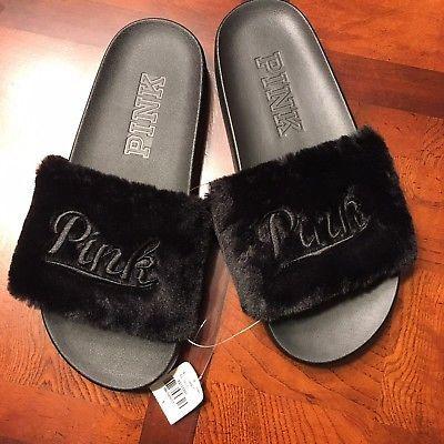 ac061f04c55d Victoria s Secret Pink Slides Sandals Faux Fur Black Slides Medium 7-8 NWT