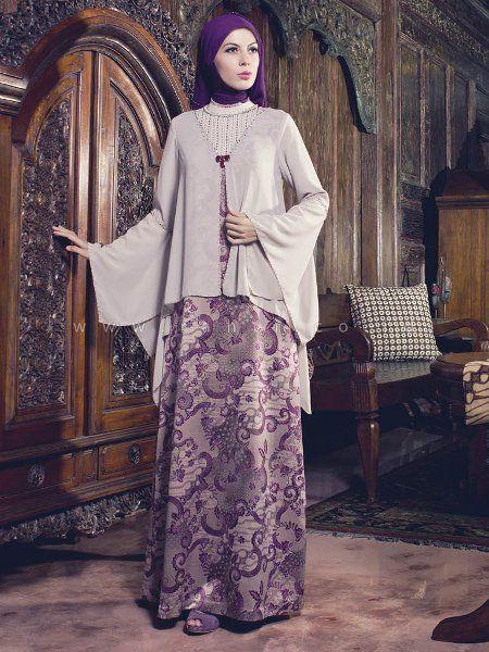 Model Baju Gamis Batik Kombinasi Brokat Wanita Model