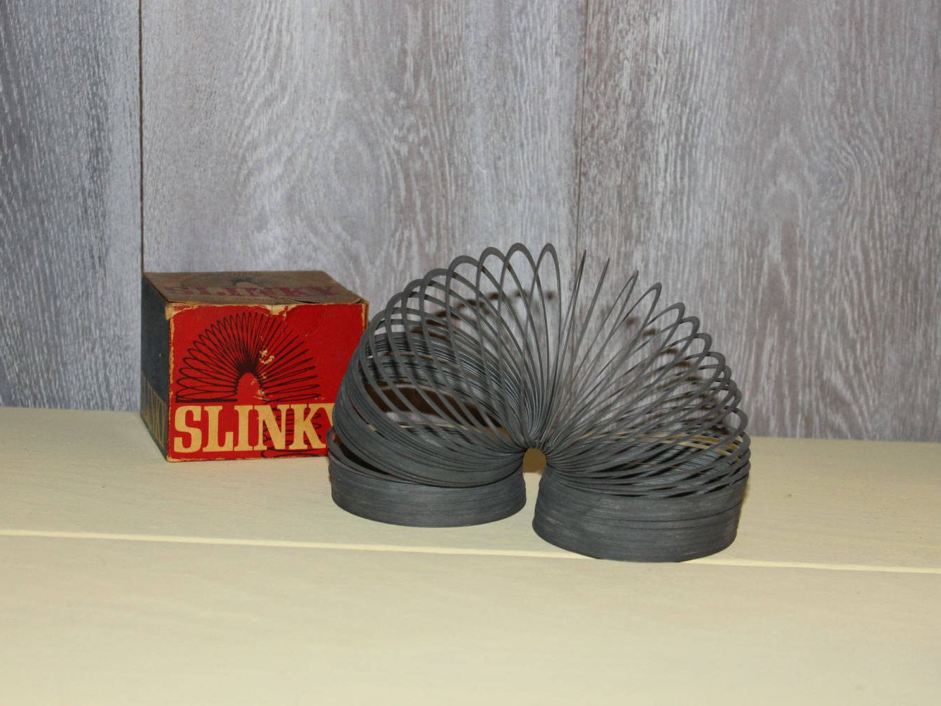 Vintage Metal Slinky in Original Box by James Ind USA Mid Century 50s Toy by CaliCollectables on Etsy