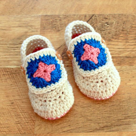 Crochet Pattern - Granny Square Baby Booties