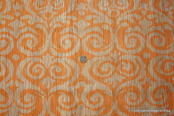 1970's Vintage Vinyl Wallpaper Retro orange and brown damask on printed faux grasscloth