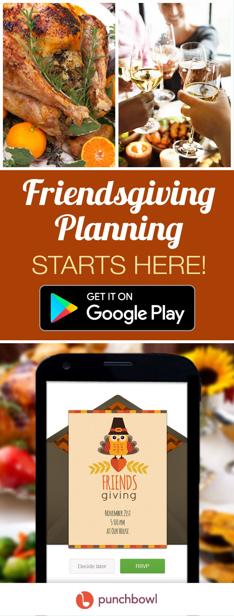Send free Friendsgiving invitations by text message right