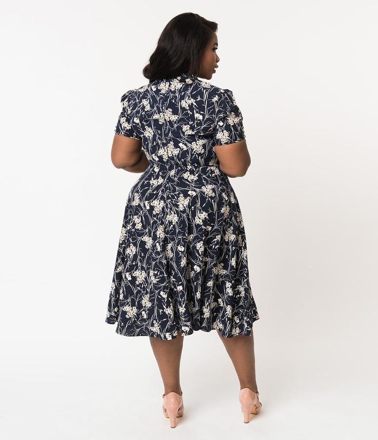 a45b42dcf0bd8 Unique Vintage Plus Size 1940s Style Cream   Pink Floral Print Kelsie Wrap  Dress