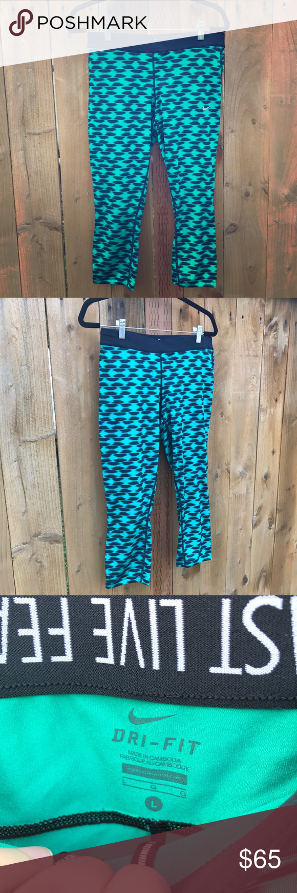 Nike Running Capris Lightweight Nike running Capris with gold over waistband and drawstrings. Nike Pants Capris