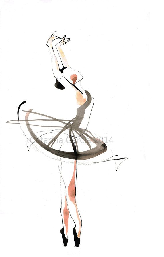 Original Ballet Dance Drawing Watercolor And Ink On Paper
