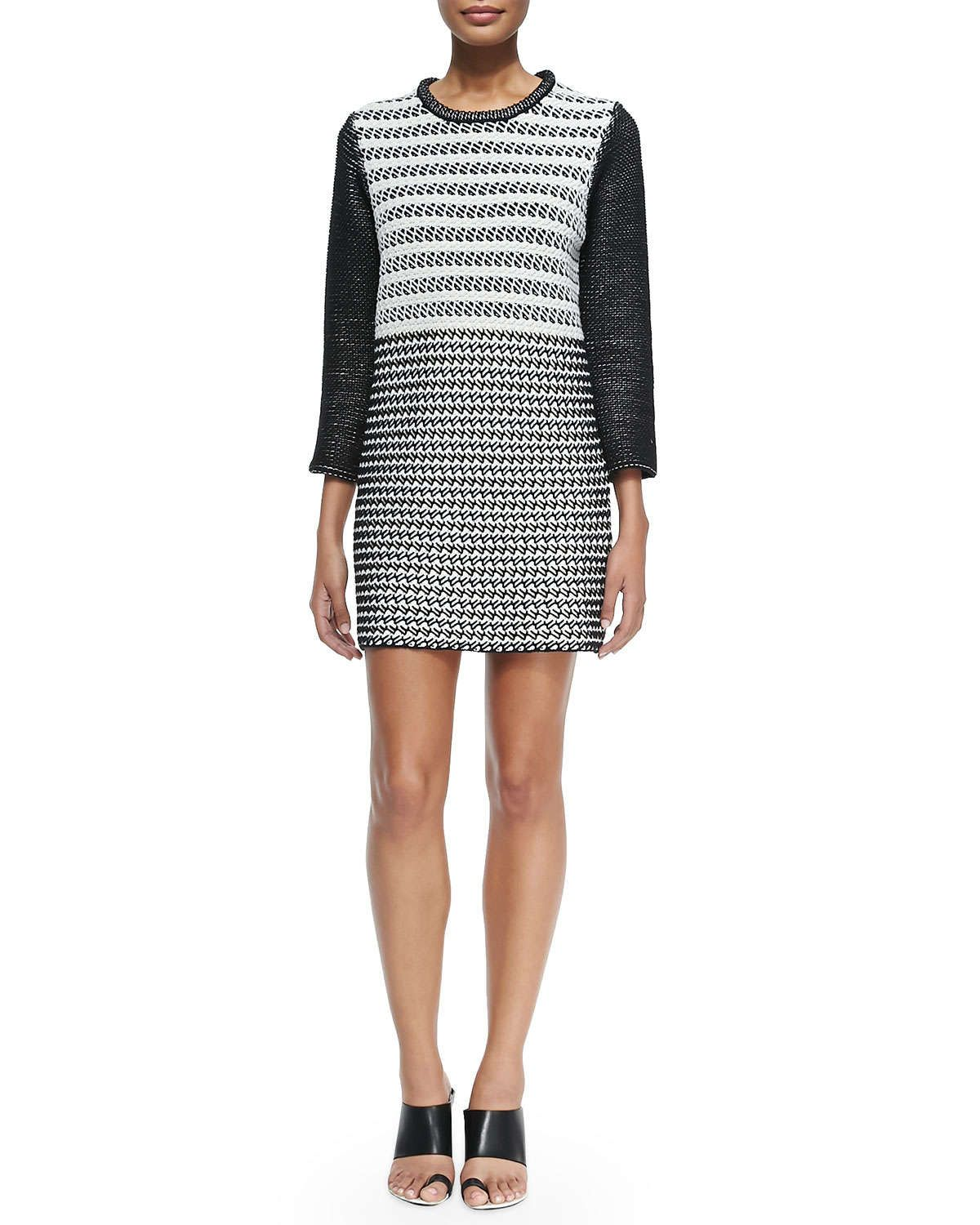 3/4-Sleeve Combo-Knit Dress