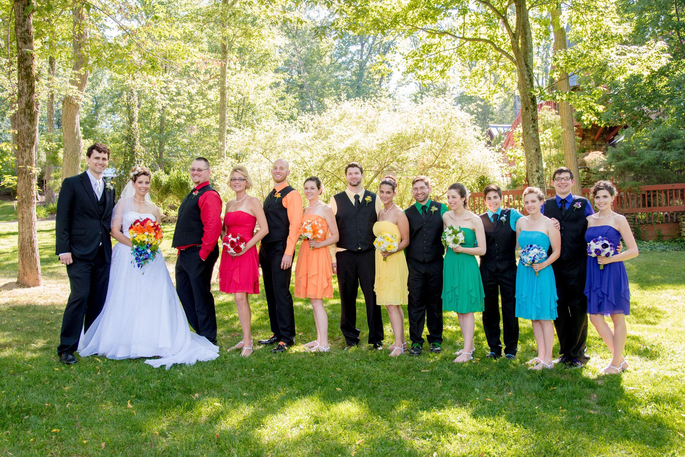 Rainbow Wedding Party Rainbow Wedding Bridal Party Wedding