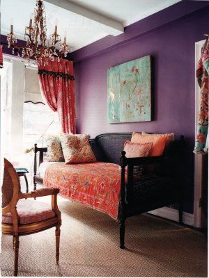 Purple bohemian room.