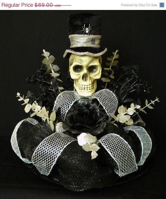 Halloween Table Centerpiece, Skull Centerpiece, Poly Deco Mesh - halloween decorations for sale