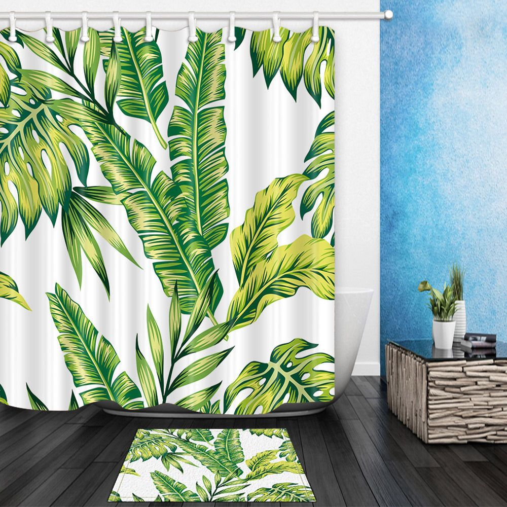 Tropical Palm Leaves Shower Curtain House Of Andaloo Home Store House Of Andaloo Tropical Shower Curtains Earthy Home Decor Colorful Curtains