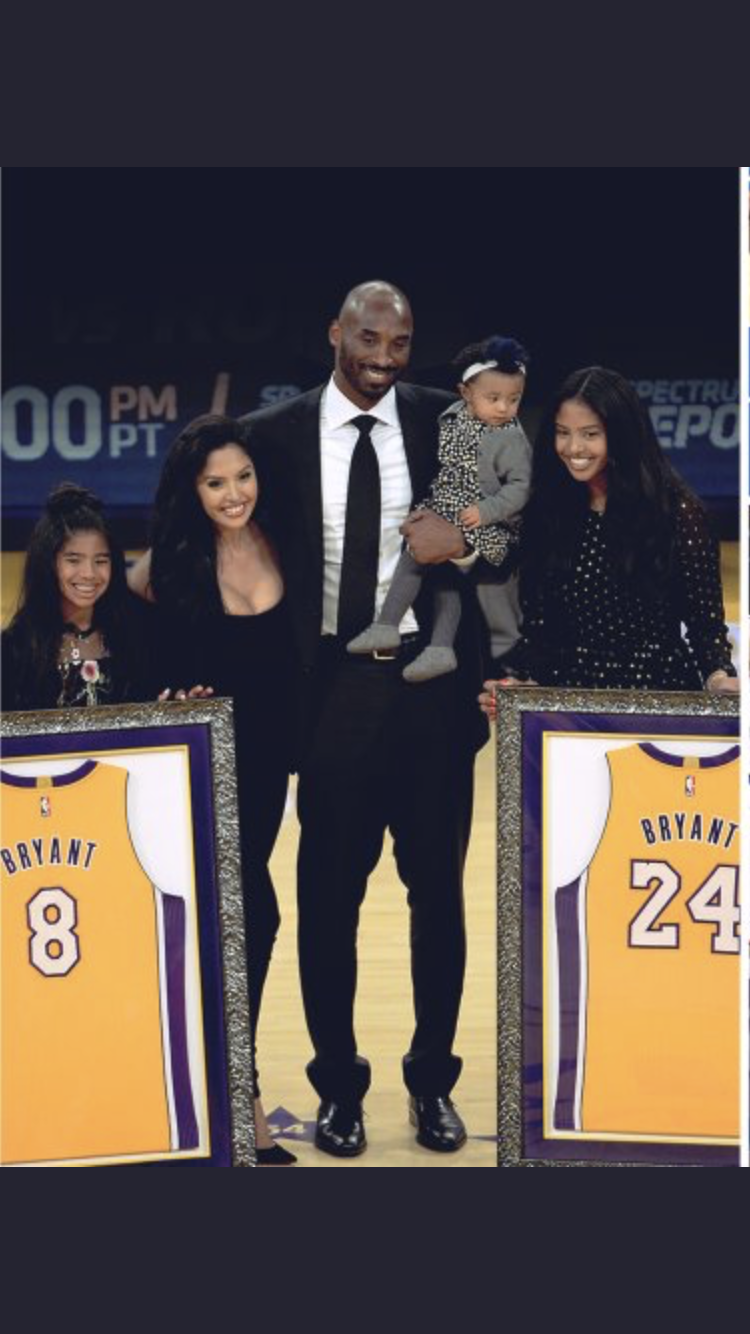 0856f7b34d6 Kobe and Vanessa Bryant and family at the Black Mamba's jerseys retirement  ceremony.