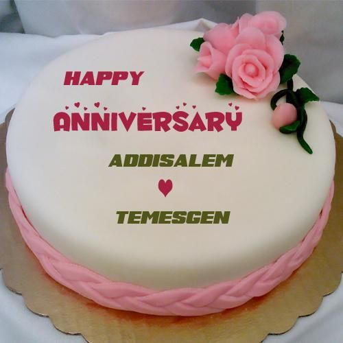 Happy Anniversary Pink Flower Cake With Couple Name
